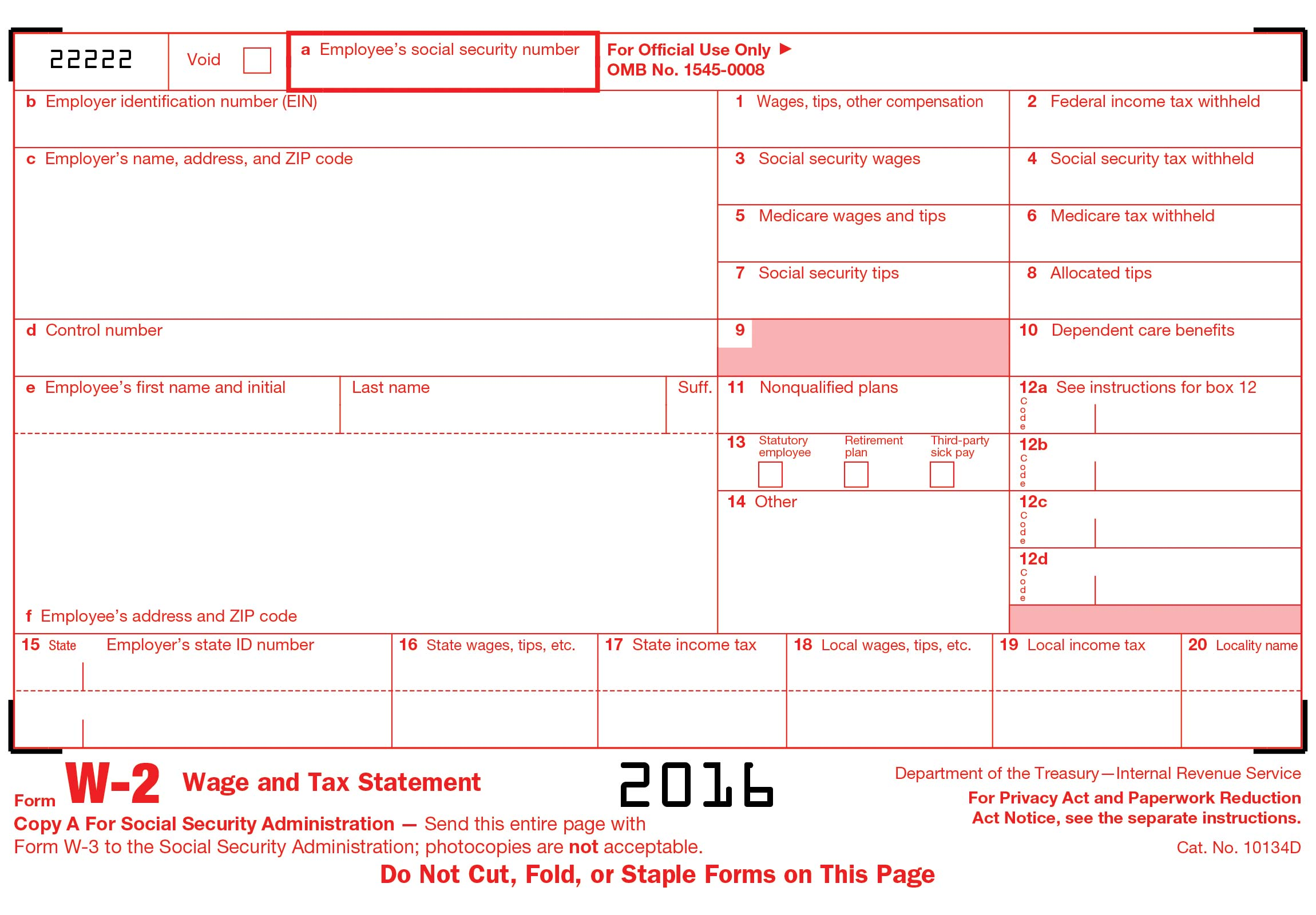 photograph relating to W2 Form Printable known as Totally free W2 sort on line W-2 Kind 2016 - Crank out printable W-2